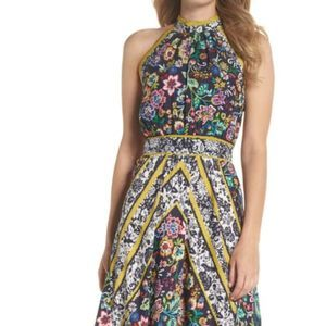 ELIZA J Floral Print High Neck Halter Dress Size 8